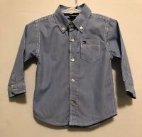 Baby Boys 18 Months Tommy Hilfiger Blue White Striped Long Sleeve Shirt Button