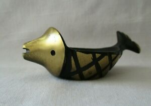 Vintage Walter Bosse Fish Bronze Ring Dish Egg Cup Ashtray Austria Candle Holder