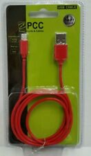 4' Ft USB Cell Phone Charging Cable for iPhone 5 6 7 8 Red 50071 (Lot of 2 pcs)