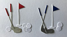 2 Two Sets of Golf Clubs and Balls with 18th Hole Flag die cuts Card Scrapbook