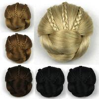 Women Girl BIG Chignon Braided Hair Bun Chignon Clip In Hairpieces Extension
