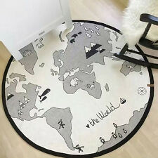 Baby Round Carpet Playing Mat World Map Floor Cotton Kids Fun Crawling Pad NM