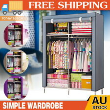 Portable Clothes Canvas Closet Wardrobe Storage Cabinet Organizer with Shelves