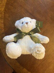 "NWT Vintage My Harrods Teddy Bear White Green Bow Plush Doll 10"" FREE SHIP!"