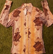 Men's 1970's Abstract Geometric Polyester Button Down Disco Shirt by Maximo.