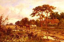 Dream-art oil painting henry hillier parker - the end of the day farmer & horses