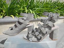 Topshop NAOMI Multi-Buckle Sandal Grey Textile Upper/Leather Lining EUR37 US6.5