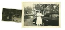 Vintage Car Photo Woman Wearing Scarf on head by Old Car w/ Negative 1950 #187