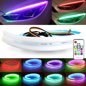 2pcs RGB 60CM DRL LED Light Car Headlight Strip Flexible Turn Signal Lamp Remote