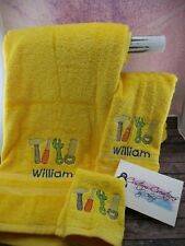 Construction Tools Sketch Personalized 3 Piece Bath Towel Set  Any Color