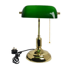 Vintage Bankers Lamp Desk Light Table Side Brass Green Shade Office Working  UK