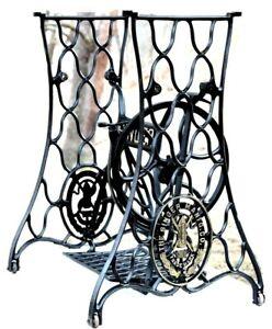 VINTAGE SINGER TREADLE SEWING MACHINE CAST IRON BASE, TABLE LEGS, RESTORED