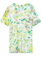 Victoria Secret PINK Green/Yellow Tie Dye Campus Pocket Short Sleeve Dog Tee S
