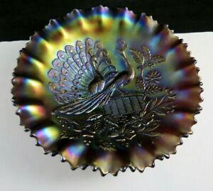 Northwood Carnival Glass Bowl Peacocks On A Fence Ruffled Edge Blue /Mauve