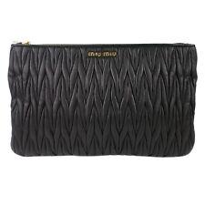 100% Authentic Miu Miu Matelasse Nappa Leather Pochette Clutch Bag
