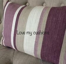 "12x18""cushion cover in Laura Ashley Awning stripe grape/purple, Austen reverse"