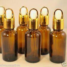 1oz Amber Glass Bottles for Essential Oils w/GOLD BASKET Dropper - Pack of 12