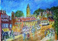 Modern mixed media original semi-abstract painting - Harrow-on-the-Hill