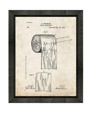 Toilet Paper Patent Print Old Look in a Beveled Black Wood Frame