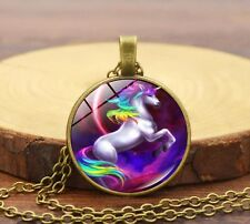 Fashion Necklace Colorful Fantasy Unicorn Silver Glass Pendant Chain