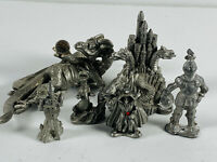 Lot (6) Vintage Pewter Wizards Castle Knight Dragon jewels