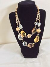 Fashion Gold Tone Chain Two Rows  Gold/Clear Beads Necklace Jewelry Display