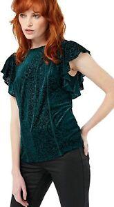 Brand New ex Monsoon Valentina Velvet Burnout Frill Sleeve Top RRP £45 Size 14