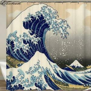 Japanese Bath Shower Curtain The Great Wave off Kanagawa