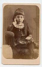 CDV Photo - Very Cute Little Girl - Long Hair - Wearing Necklace - Close Up