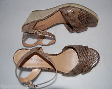 "WOMENS SHOES Strappy Sandals MOCK SNAKESKIN Brown 3"" WEDGE HEEL Open Toe  7"