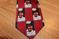 John Ashford Silk Neck Tie Christmas Santa Chimney Roof Dasher Call 911