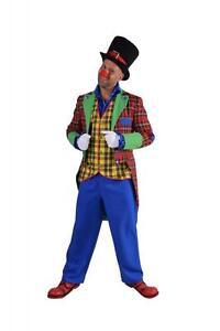 Clown Frack Hose Herren Harlekin Kostüm Anzug Kasper Clownanzug Clownkostüm Hut