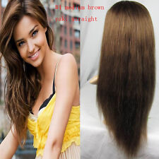"""10""""-20"""" Full Lace Glueless Wigs 100% Remy Indian Human #4 Yaki Straight Hair Wig"""