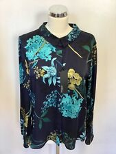 BNWT MARKS & SPENCER AUTOGRAPH NAVY MIX FLORAL PRINT BLOUSE SIZE 10 COST £39.50