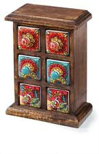 Fair Trade Hand Painted Multi Colour Ceramic 6 Drawer Mango Wood Chest