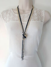 "Gorgeous 26"" long gold tone, black & hematite layered - knotted chain necklace"