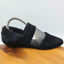 Eileen Fisher Allot Black Suede Leather Pointed Toe Strap D'Orsay Flat Women's 7