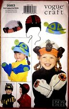 Kids Hat Mittens Pattern Spider Lady Bug Turtle Bumble Bee 9983 Vogue