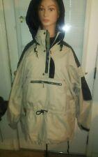 OBERMEYER MENS LARGE SKI SNOWBOARD JACKET COAT BEIGE/BLACK/ BLACK HOOD