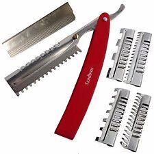 Professional Hair Shaper Razors Comb Salon Hairdressing ThR2 +3 Combs +2 blades.