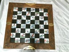 Vintage Chinese Japanese Chess Set Wood Brass; MISSING SOME CHESS PIECES