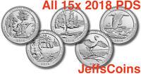 All 2018 P D S Set 15 x Park Quarters US Mint ATB Unc Picture - Block Island PDS