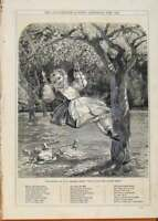 Original Old Antique Print London Almanack The Swing By Thomas 1865 Victorian