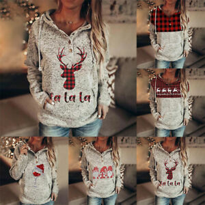 Women's Christmas Long Sleeve Hoodies Hooded Sweater Pullover Tops Blouse Jumper