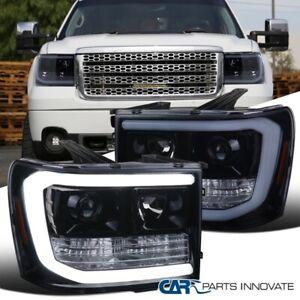 For GMC 07-14 Sierra 1500 2500HD 3500HD Glossy Black LED DRL Projector Headlight