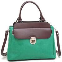 Dasein Womens Croco Leather Handbags TwoTone Satchel Buckle Purse Shoulder Bag