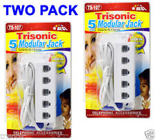 TWO Pack 5 Way Outlet 4C RJ11 Telephone Phone Modular Jack Line Splitter Adapter