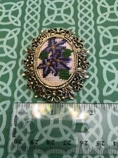 Ornate Vintage Woven Cloth & Metal Baroque Pin Brooch Free Shipping