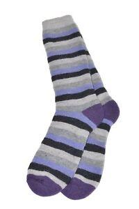 Women's Luxury Alpaca Lightweight Blend Cushioned Boot Socks Crew Stripes