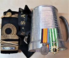 POST WW2 AUSTRALIAN NAVY HMAS KIMBLA MUG, RANK UNIFORM BOARDS MEDALS TALLY LOT